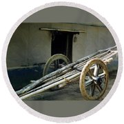Bullock Cart Round Beach Towel