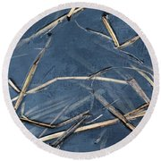 Bulrush Stalks Round Beach Towel