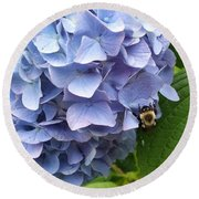 Bumble Bee Blues Round Beach Towel