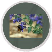 Bumble Bee Delight Round Beach Towel