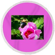 Bumble Bee Flying To Flower Round Beach Towel