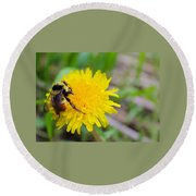 Bumble Bees And Dandelions Round Beach Towel