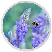 Bumblebee And Lupine Round Beach Towel