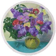 Bunch Of Spring Flowers Round Beach Towel