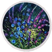 Bunch Of Wild Flowers Round Beach Towel