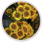 Bunches Of Sunflowers Round Beach Towel