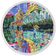Bund In Shanghai, China, In Front Of The Custom House Clock Tower Round Beach Towel