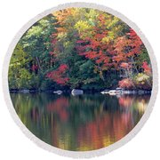 Bunganut Lake Maine Foliage 13 2016 Round Beach Towel