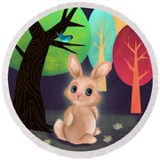 Bunny And Birdie Round Beach Towel