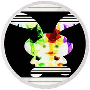 Bunny In Abstract Round Beach Towel