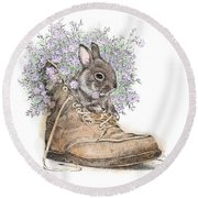 Bunny In Boot Round Beach Towel