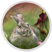 Bunny In The Lilies Round Beach Towel