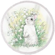 Bunny In White Round Beach Towel