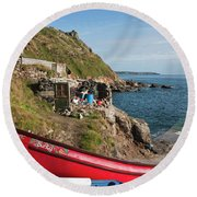 Bunty In Priest's Cove Cape Cornwall Round Beach Towel