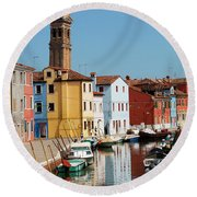 Burano An Island Of Multi Colored Homes On Canals North Of Venice Italy Round Beach Towel