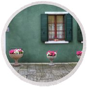 Burano Green Round Beach Towel