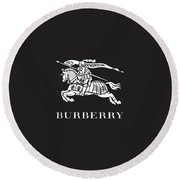 Burberry - Black And White - Lifestyle And Fashion Round Beach Towel