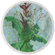 Burdock Leaves  Round Beach Towel