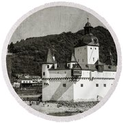 Burg Pfalzgrafenstein Aged Round Beach Towel