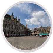 Burg Square In Bruges Belgium Round Beach Towel