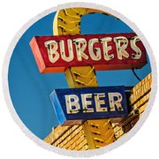 Burgers And Beer Round Beach Towel