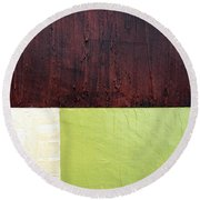 Burgundy Cream Pickle Round Beach Towel by Michelle Calkins