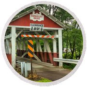 Burkholder Covered Bridge Round Beach Towel