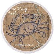 Burlap Blue Crab Round Beach Towel