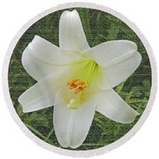 Burlap Textured Easter Lily Round Beach Towel