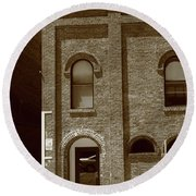 Burlington North Carolina - Arches And Alley Sepia Round Beach Towel