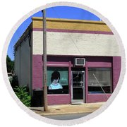 Burlington North Carolina - Small Town Business Round Beach Towel
