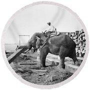 Burma: Elephant Round Beach Towel