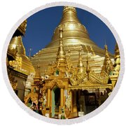 Burma's Golden Pagoda Round Beach Towel