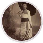 Burmese Lady  Round Beach Towel