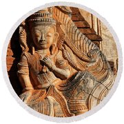 Burmese Pagoda Sculpture Round Beach Towel