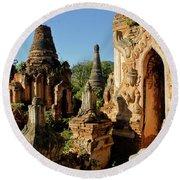 Burmese Pagodas In Ruins Round Beach Towel