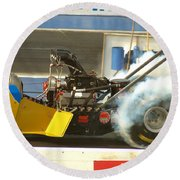 Burn Out On The Track Round Beach Towel