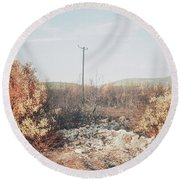 Burned Landscape Round Beach Towel