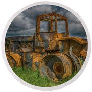 Burned Out Farm Tractor Round Beach Towel