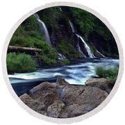 Burney Falls Creek Round Beach Towel
