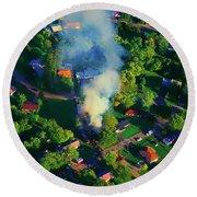 Burnin Down The House Aerial Single Family Home On Fire  Round Beach Towel