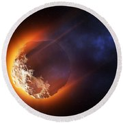 Burning Asteroid Entering The Atmoshere Round Beach Towel