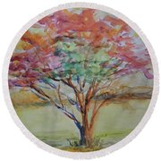 Burning Bush Round Beach Towel
