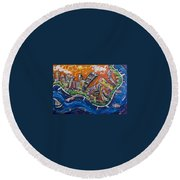 Burning City Round Beach Towel