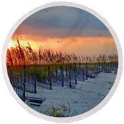 Burning Grasses And The Fence Round Beach Towel
