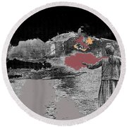 Burning House Destroyed By The Ss Soviet Union Number One 1941 Color Added 2016 Round Beach Towel