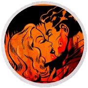 Burning Kiss Of Fire Round Beach Towel