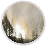 Burning Through The Fog Round Beach Towel