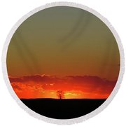 Burning Tree Sunset Round Beach Towel