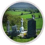 Burren Crosses County Clare Ireland Round Beach Towel